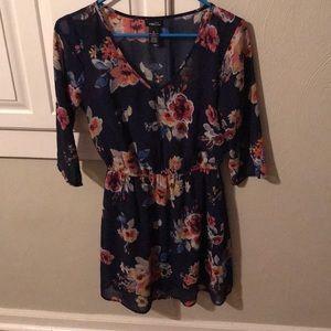Navy Blue Floral, 3/4 sleeve Dress
